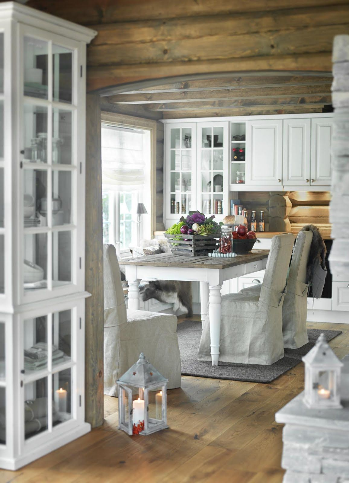 .Love the wood, white and slips.
