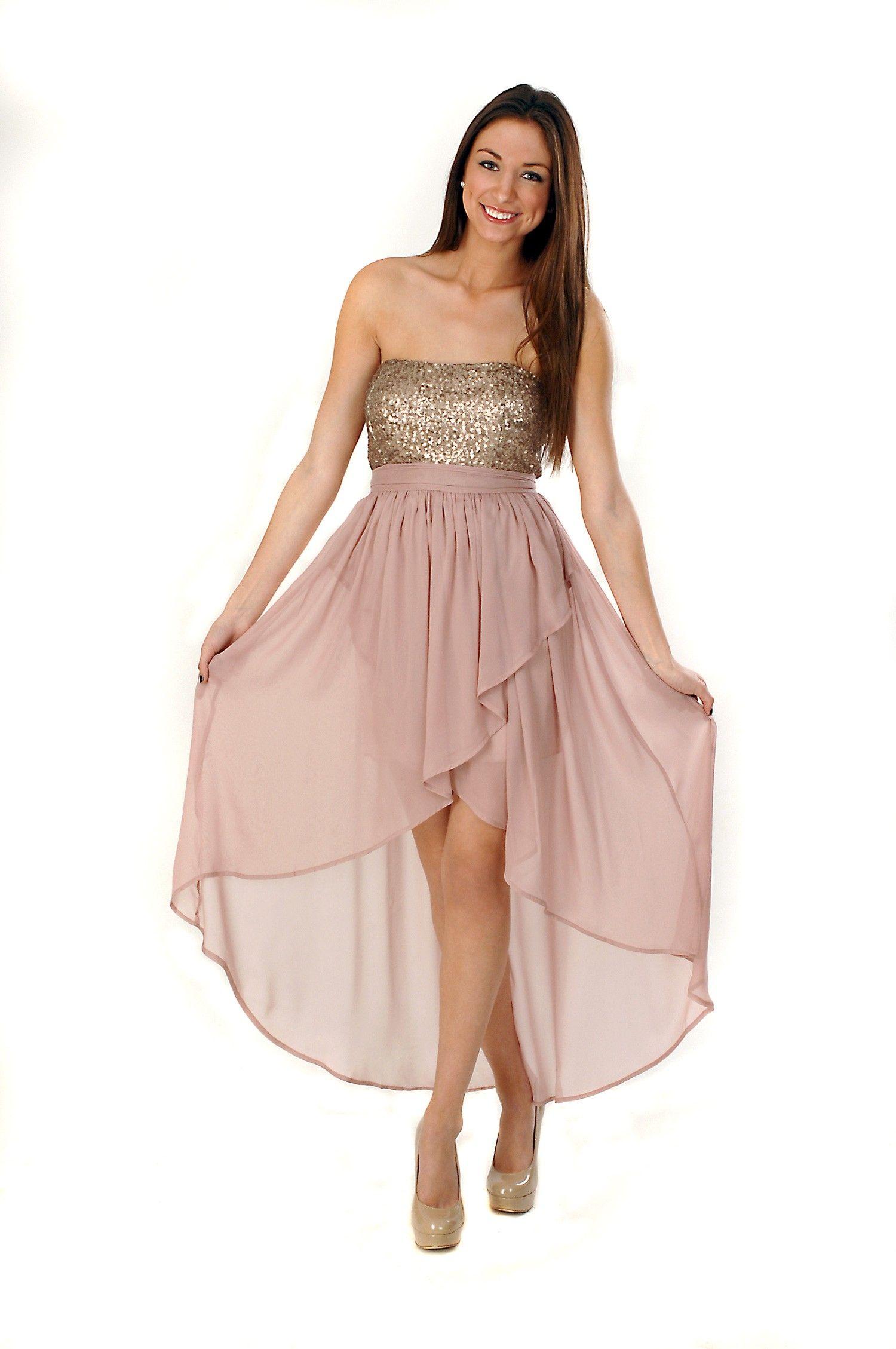 ROSE AND GOLD SEQUIN HI LOW DRESS | DRESSES | Pinterest | Sequins ...