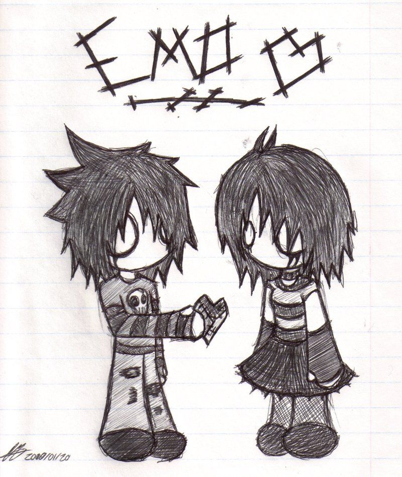 Gallery For gt Cute Emo Love Drawings In Pencil