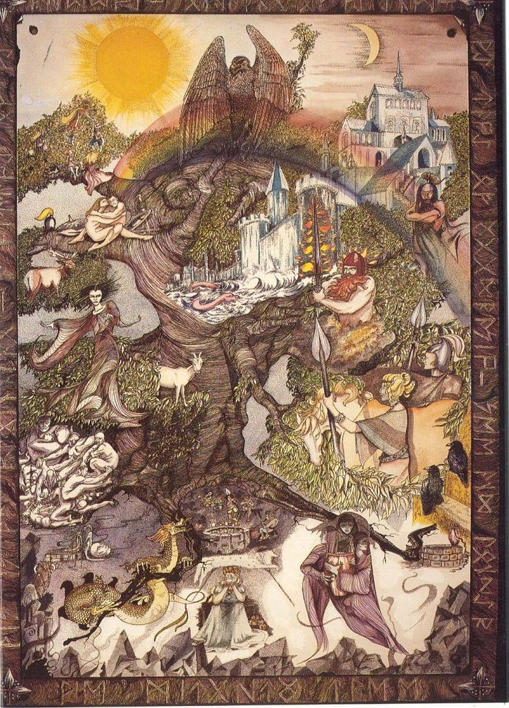 Image Result For World Tree With Runes Norse Myth Norse Mythology Germanic Tribes
