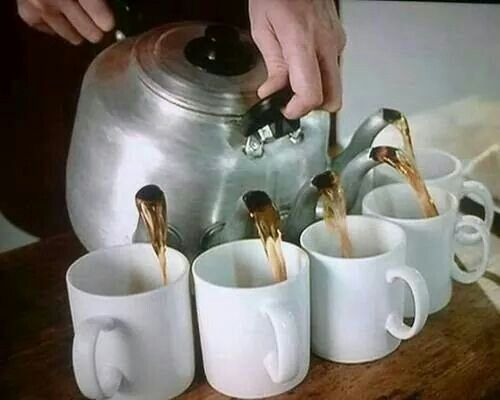 Image result for pouring many cups at once""
