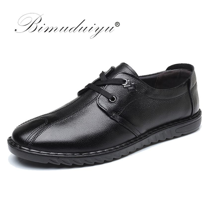 Bimuduiyu Designer Breathable Genuine Leather Shoes Men Casual Shoes Lace Up Comfort Shoes Men Flats To Mens Casual Shoes Leather Shoes Brand Leather Shoes Men