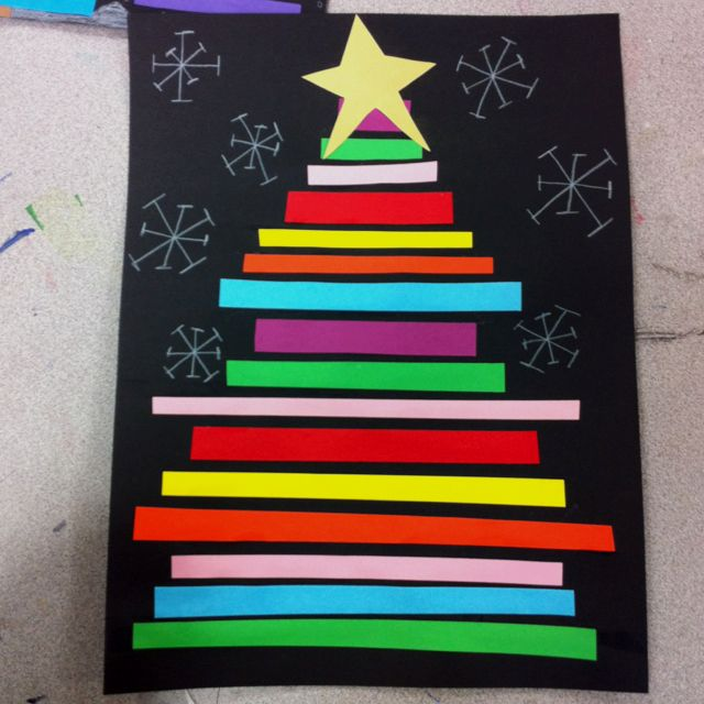 Construction Paper Line Christmas Trees Construction Paper Crafts Christmas Crafts Craft Projects For Kids