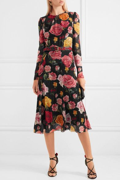Floral-print Silk-blend Georgette Midi Dress - Black Dolce & Gabbana Buy Cheap Original Bulk Designs Footlocker Finishline Sale Online Best Place Cheap Price With Credit Card Online 9dnO2