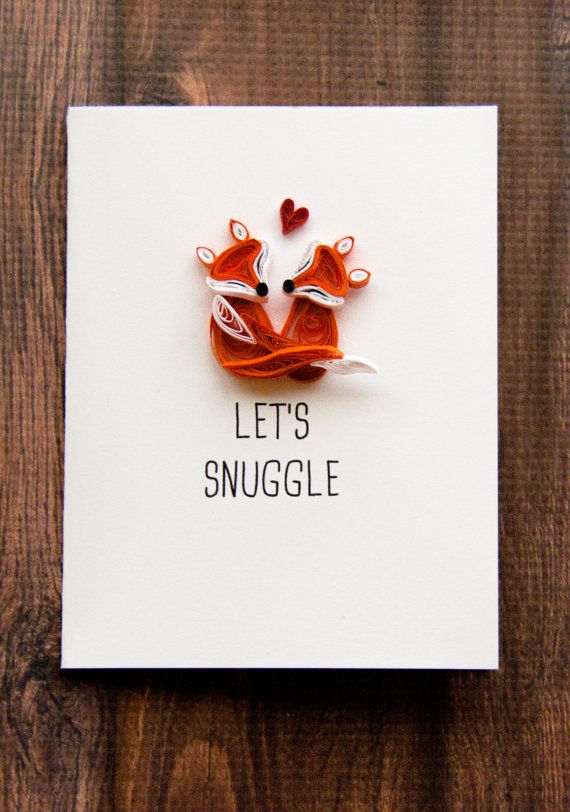 Funny Love You Card  Funny Valentines Day Card  Fox Lets Snuggle