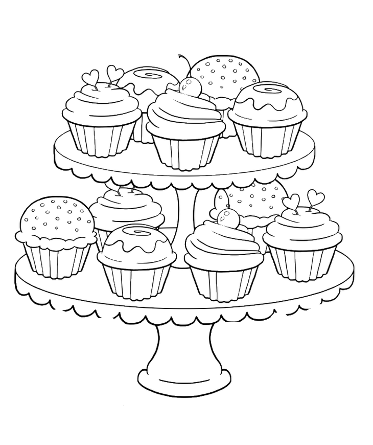 Many sweet and tasty Cupcakes coloring page for kids