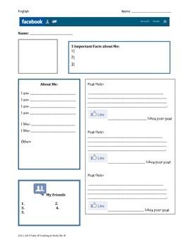 Facebook Character Profile Blank Template