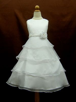55af7d4f1f8 Satin Bodice with Organza Tiered Skirt Flower Girl Dress  52.50 ...