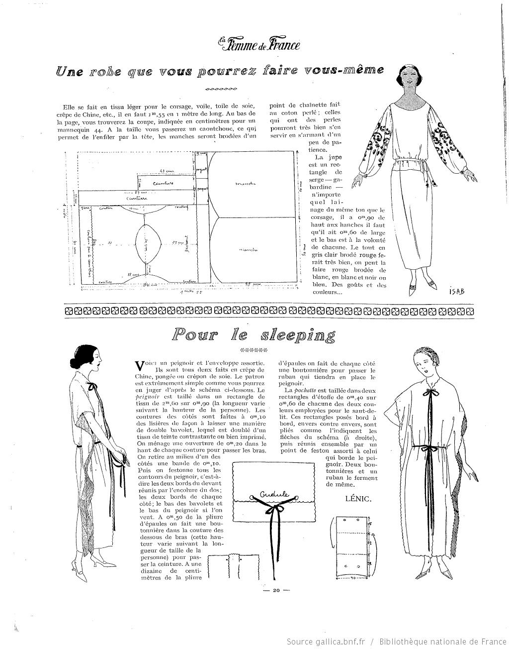 Les Modes de la femme de France   1922-05-28   Gallica   крой ...