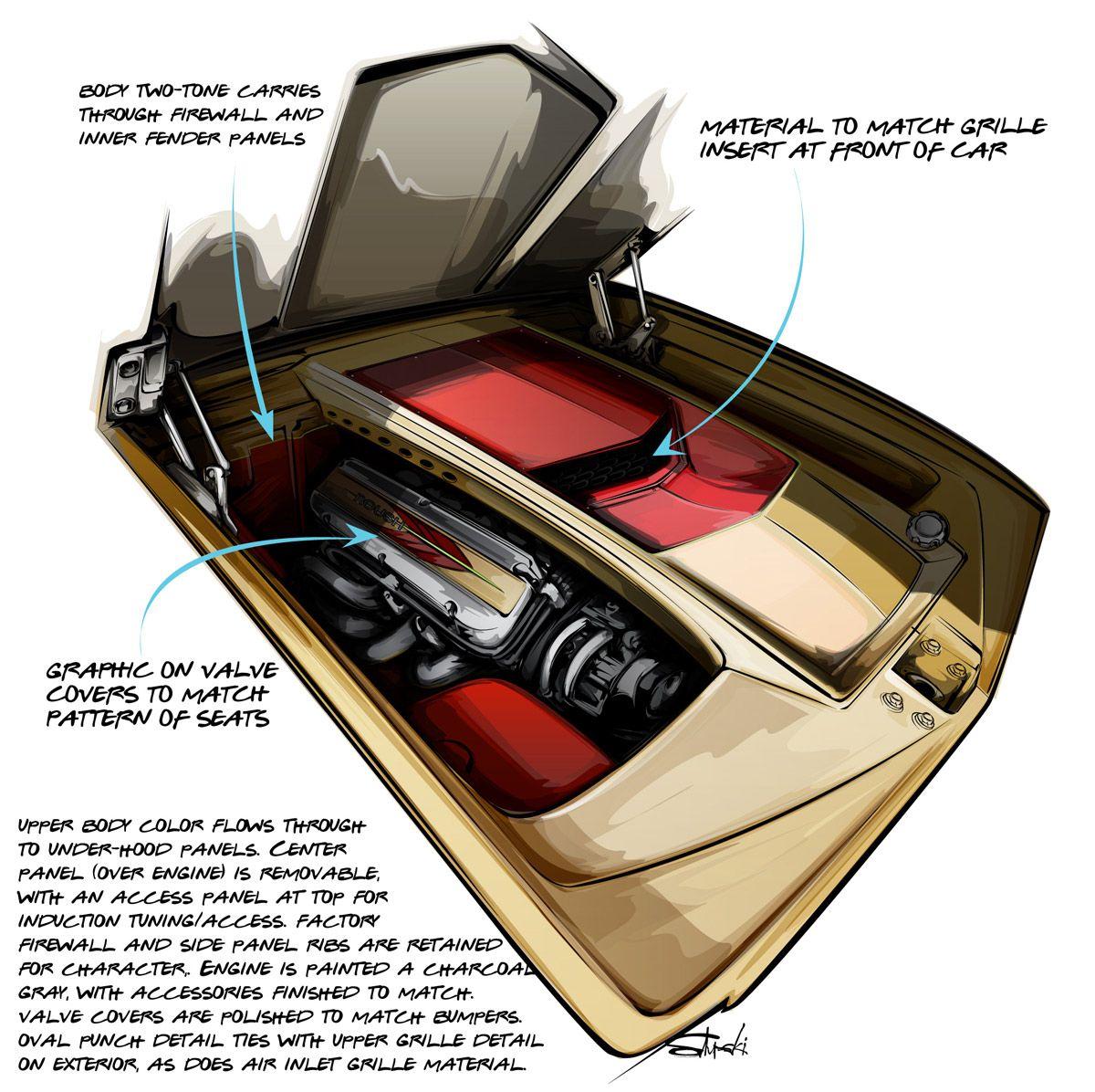 Ford Falcon Custom engine compartment design