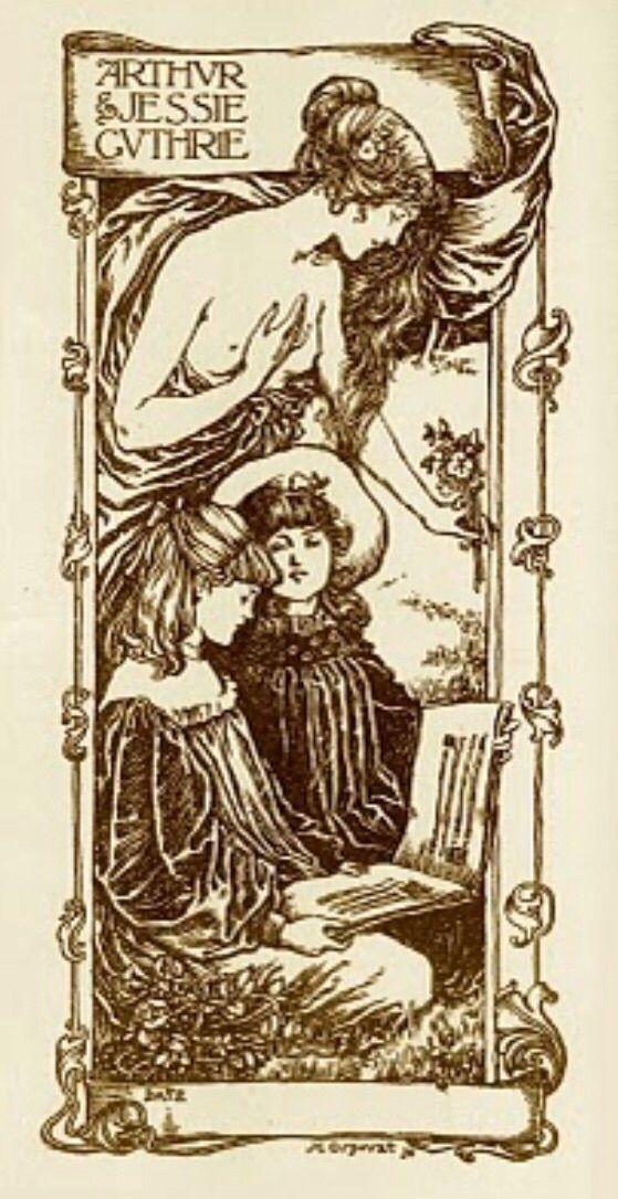 Ex libris Arthur and Jessie Guthrie (1898) by Henry Ospovat (1877-1909).