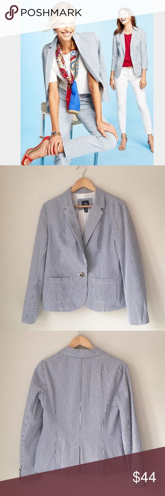 GAP Blue & White Seersucker Blazer Blue & white stripe Seersucker blazer by GAP. 100% cotton. Size 8. Excellent condition! GAP Jackets & Coats Blazers