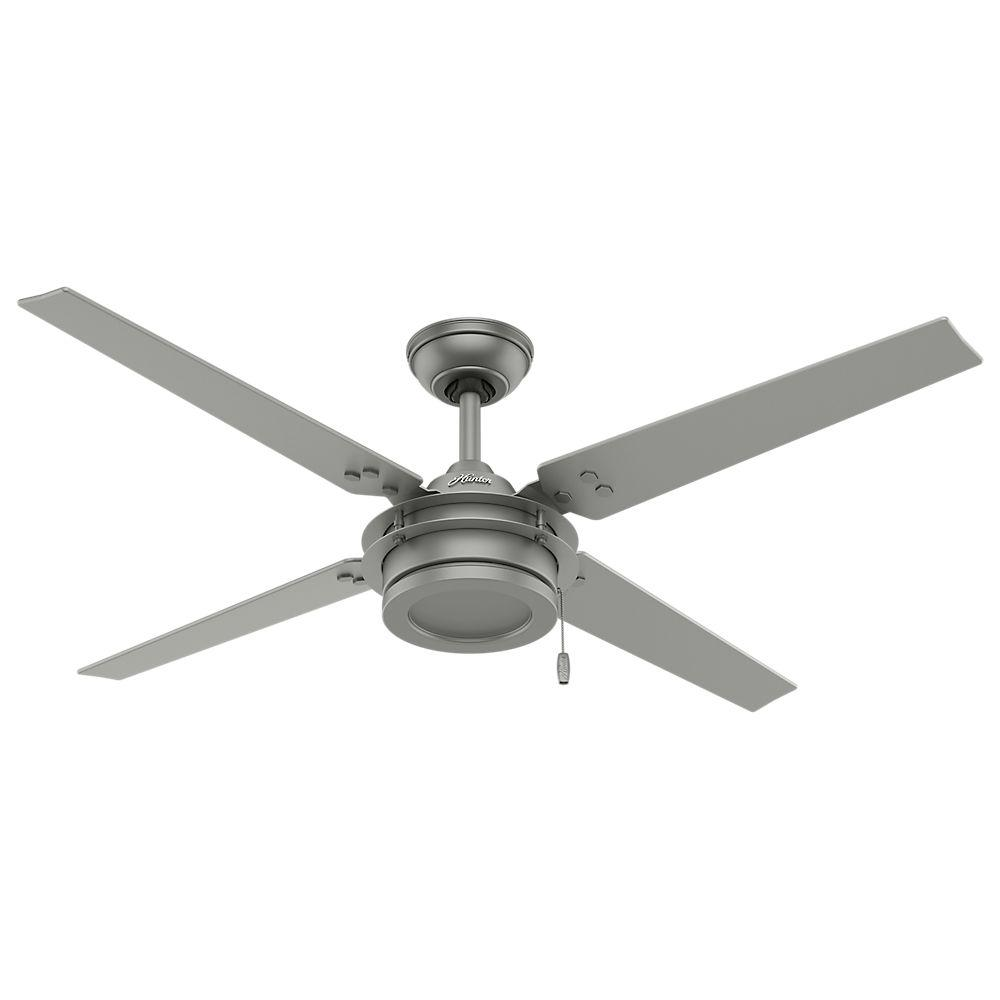 Indoor Outdoor Matte Silver Ceiling Fan 59208 The Home Depot