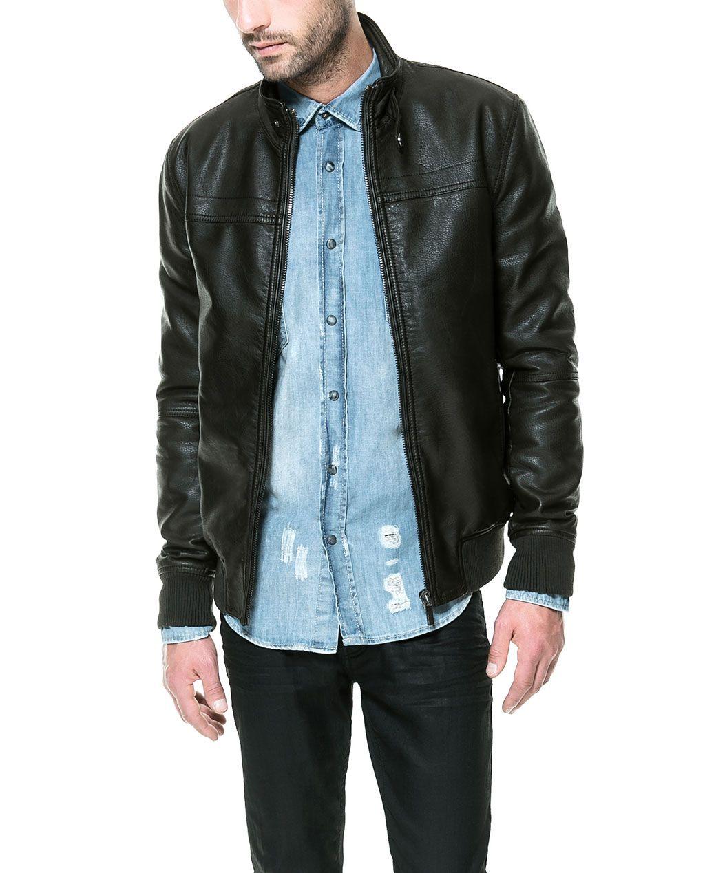 GREEN FAUX LEATHER JACKET from Zara Zara leather jacket