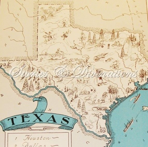 Texas Vintage Map Of Texas A Fun And Funky 1930s Vintage