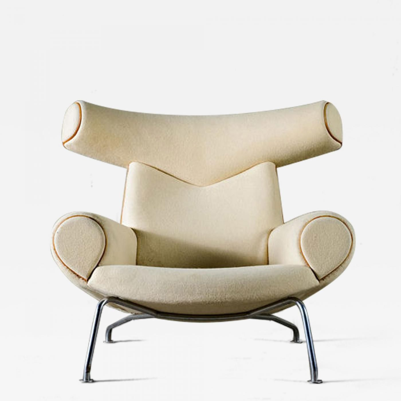 """Hans Wegner - Hans Wegner """"Ox"""" Chair in White Mohair offered by JF Chen on InCollect"""