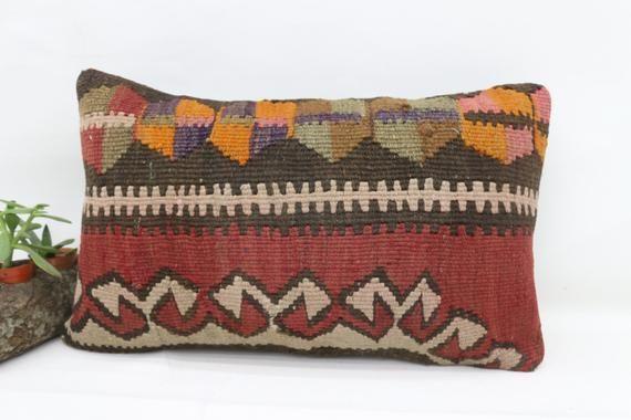 12x20 Turkey Kilim Pillow, Bohemian Pillow, Neck Throw Pillow, Cushion Cover, Designer Pillow, Red P