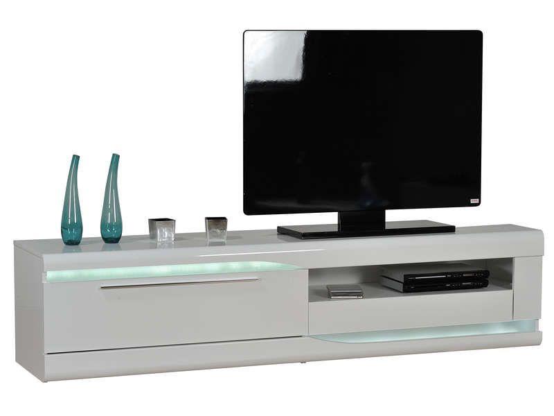 Banc Tv Finition Laque Ovio Colors Blanc Laque Pas Cher Meuble