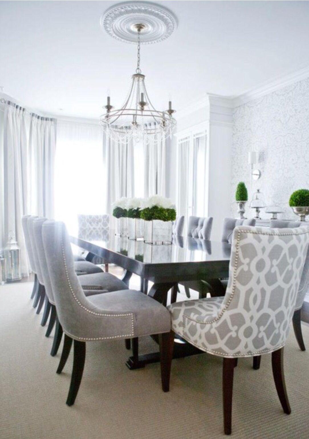 Grey Dining Dining Room Contemporary Transitional Dining Room