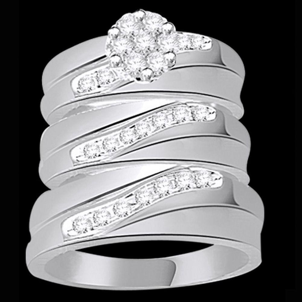 14k white gold diamond trio set hishers matching