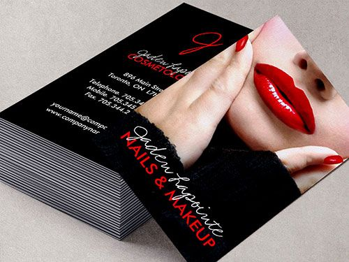 Red lips makeup artist business card template business card red lips makeup artist business card template reheart Choice Image