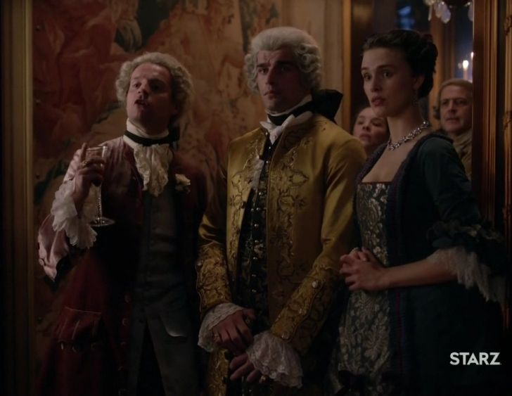 "Prince Charles Stuart (Andrew Gower), Comte St. Germain (Stanley Weber) and The Comte's Wife (Gaia Weiss) in Season Two of 'Outlander' on Starz, Episode 204, ""La Dame Blanche"" via https://outlander-online.com/"