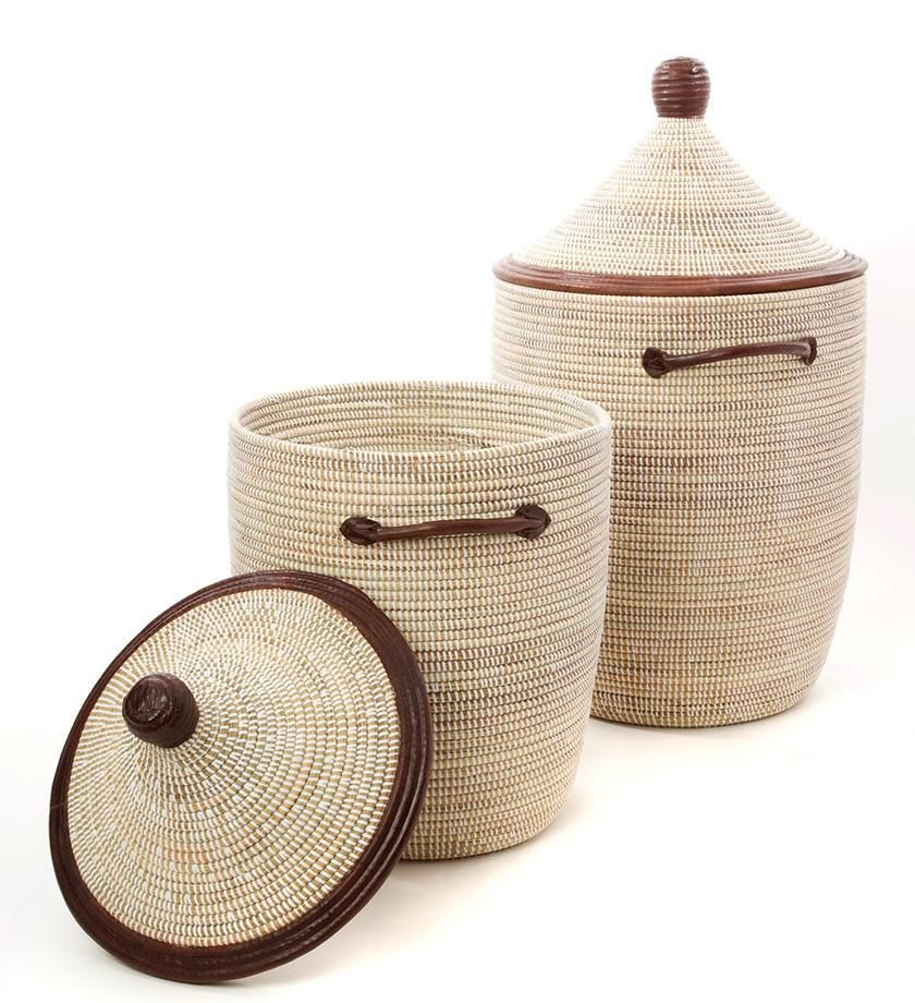 Set 2 White Laundry Baskets With Dark Leather Accents Tkj Office