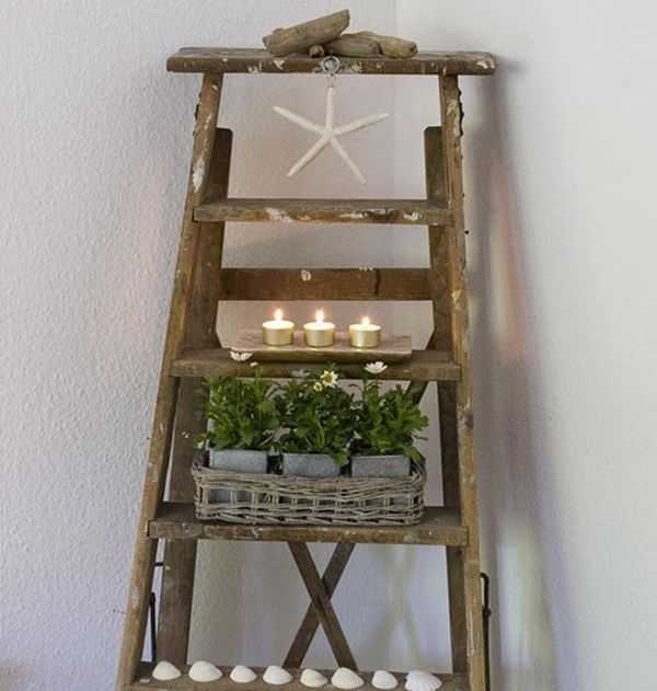 decorating with a ladder vintage ladder decor ideas 27