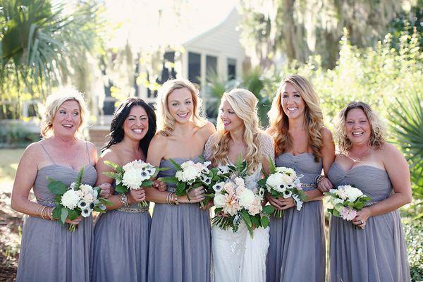 blue gray bridesmaid dresses   Kay English #wedding