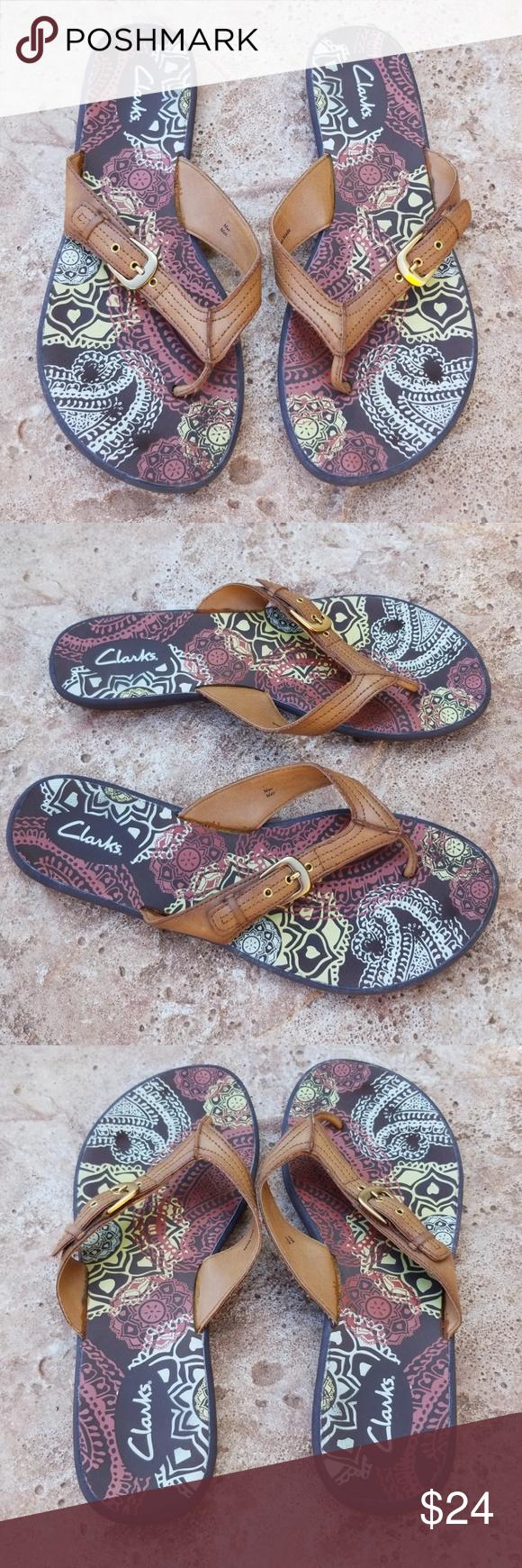 ef6749a0913a Clarks Camel Tan Brown Graphic Flip Flop Sandals 9 Super comfy flip flop  sandals from Clarks