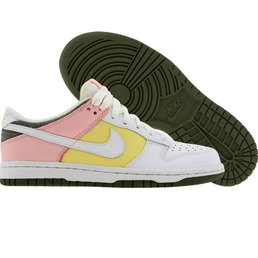 Nike Womens Dunk Low (white   white   lemon   light coral) 317813-112 -   74.99 37a5e493ac
