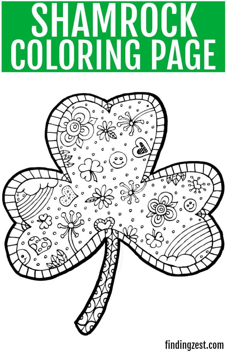 Shamrock Coloring Page for Adults Print Out This Fun