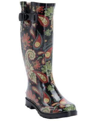 Women's Paisley Rain Boot Round Toe