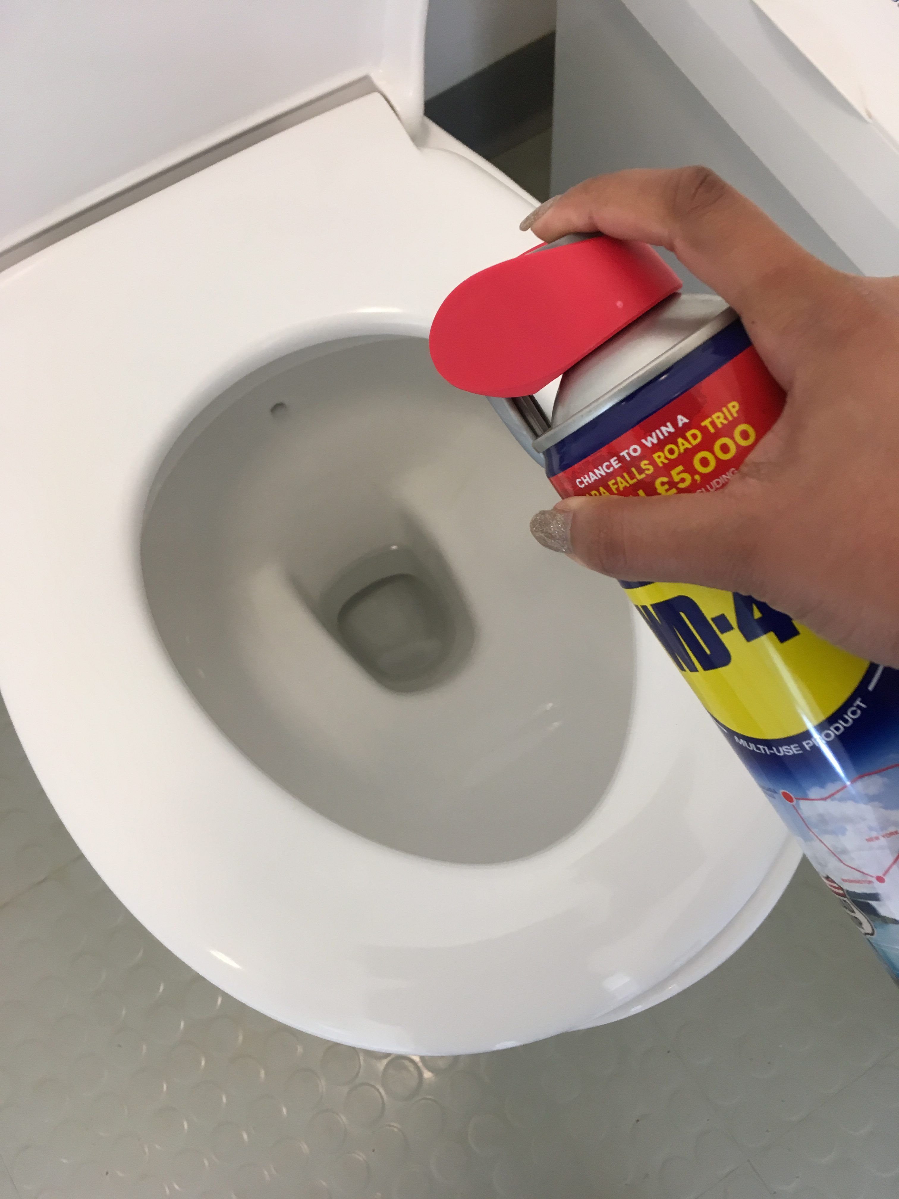 Clean toilet bowls with WD40. Remove hard water stains. Spray into ...