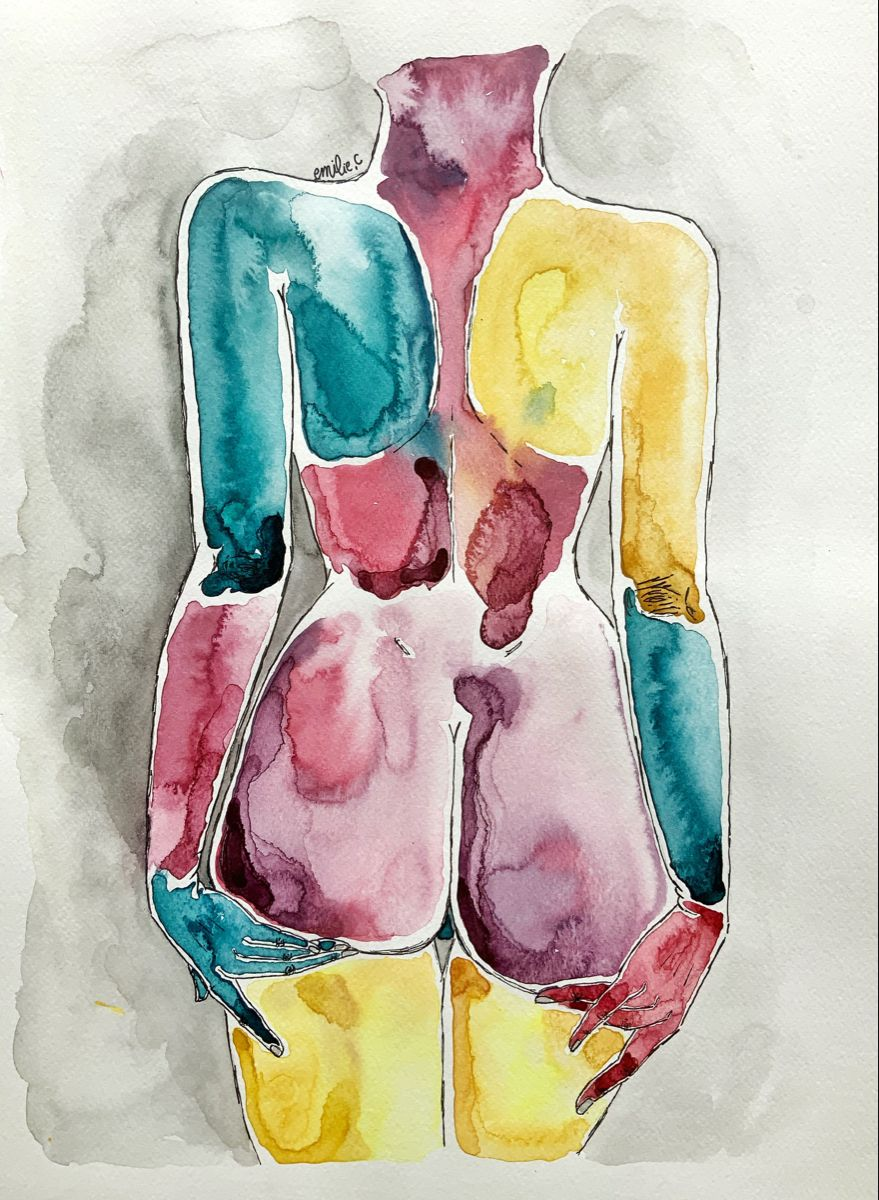 #aquarellepainting #aquarelle #orange #paint #painting #artist #artwork #emilie #peinture #dessin #corpshumain #bodydrawing #ass #fesses #dos #femme #yellow #pink #blue
