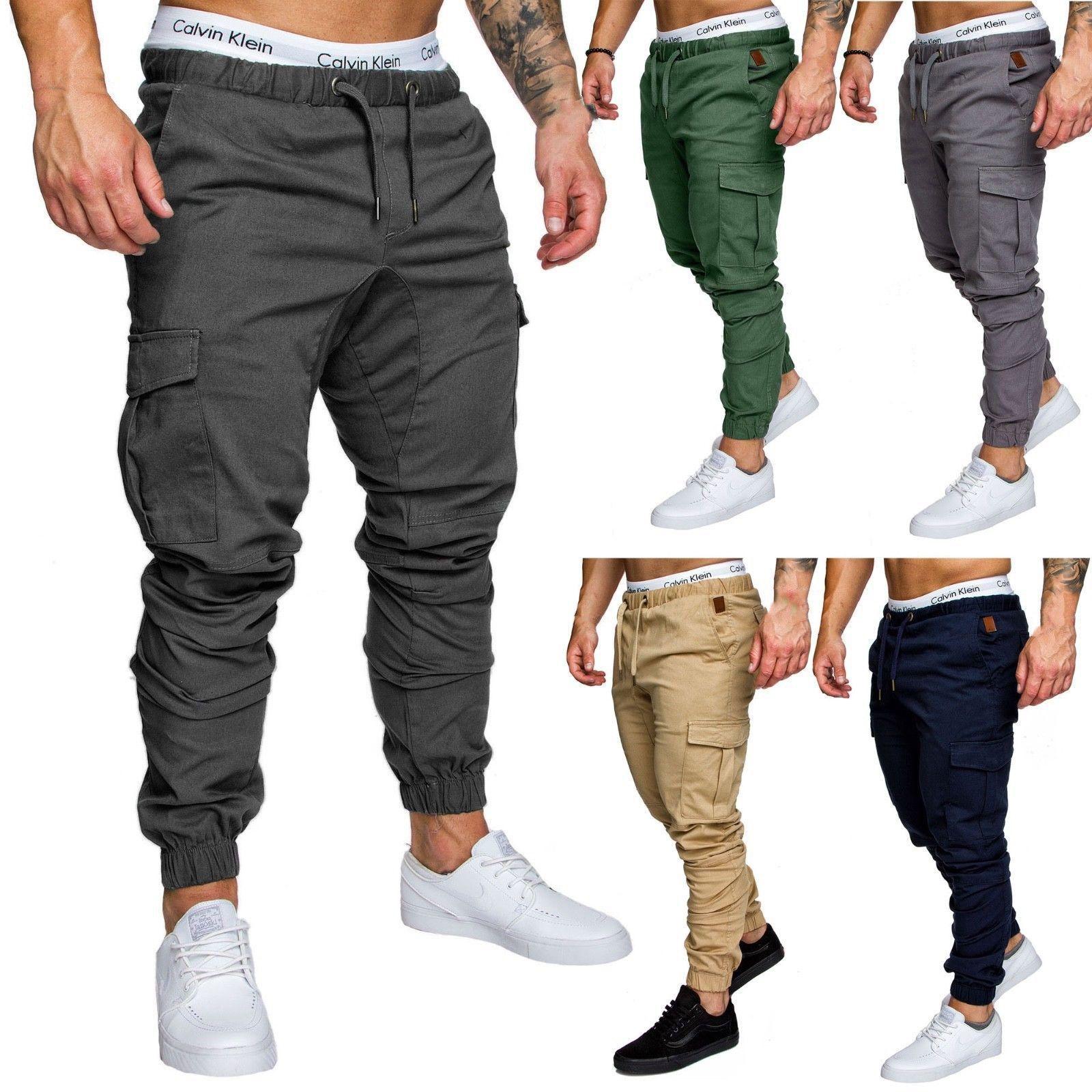 2018 New Fashion Hot Popular Mens Slim Fit Urban Straight Leg Trousers Casual Pencil Jogger Cargo Pants Pants
