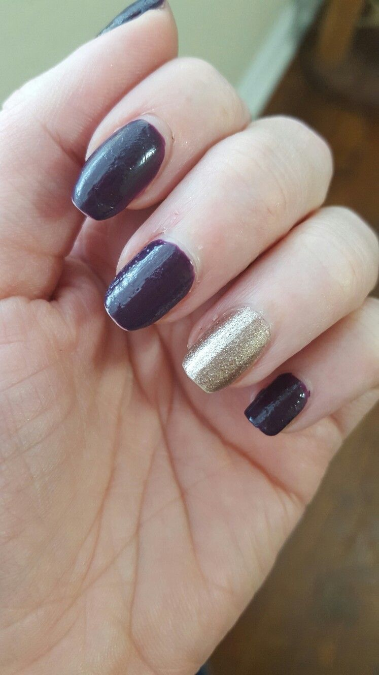 Deep Plum and shimmery taupe nails | My nail designs | Pinterest