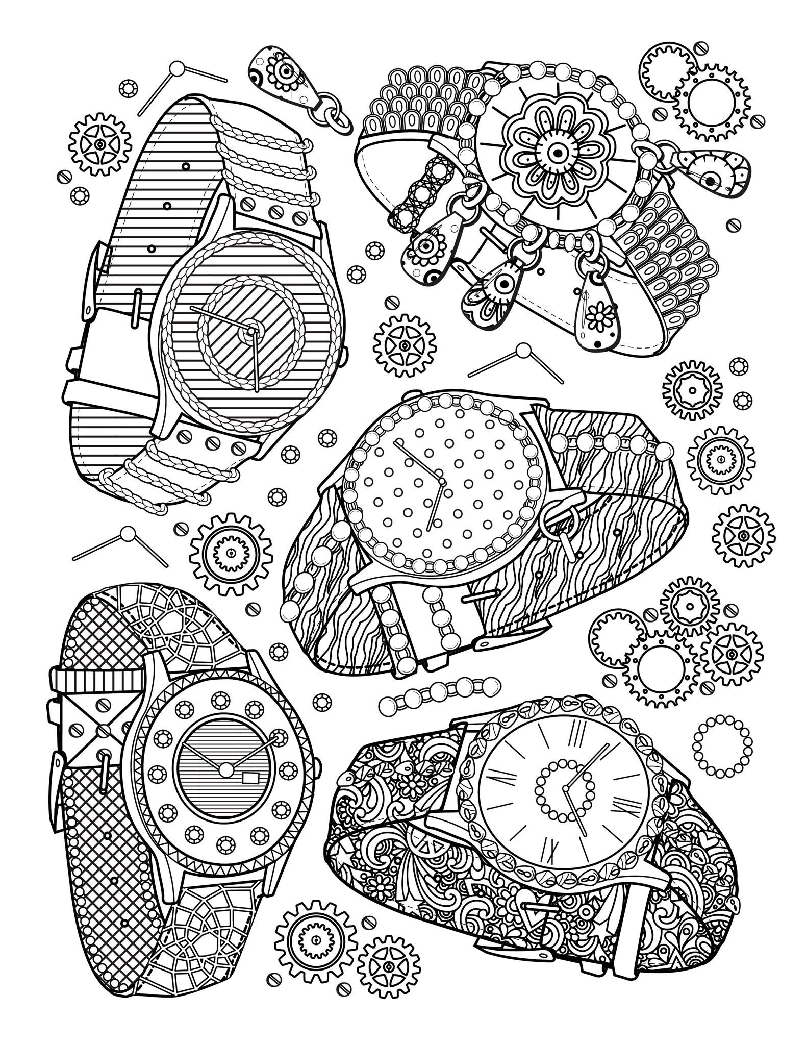 Best grown up coloring books -  Watches A Page From The Best Jewelry Adult Coloring Book