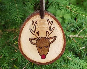 Photo of Deer with Tree Wooden Ornament with Wood Burning Pyrography Art o