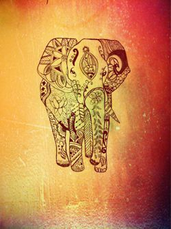 Henna-type Elephant beautiful! But trunk is down - not good luck