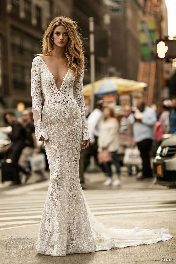 Berta Fall 2017 Bridal Long Sleeves Deep V Neck Full Embellishment Elegant Lace Sheath Wedding Dress
