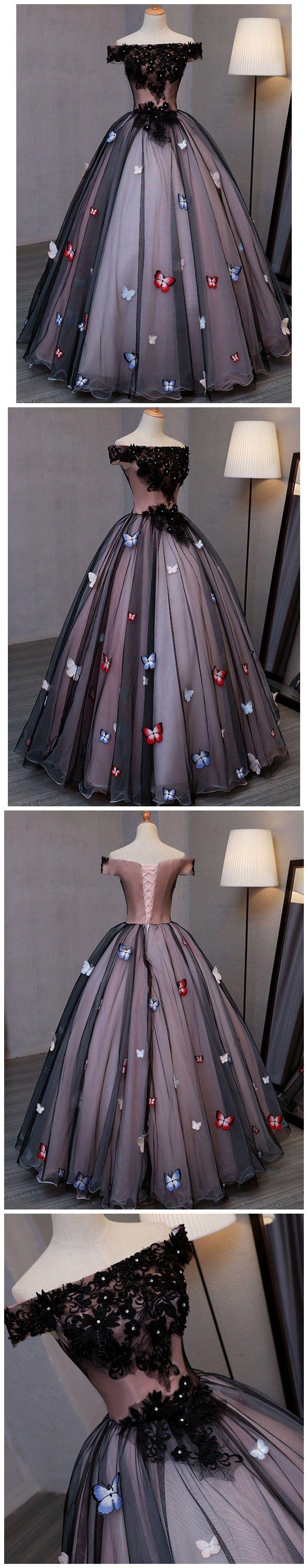 Off the shoulder black prom dresses plus size butterfly appliqued