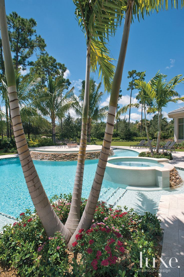 Poolside Palm Trees Around Contemporary Pool Indoor Outdoor Pool Outdoor Water Features Farmhouse Landscaping