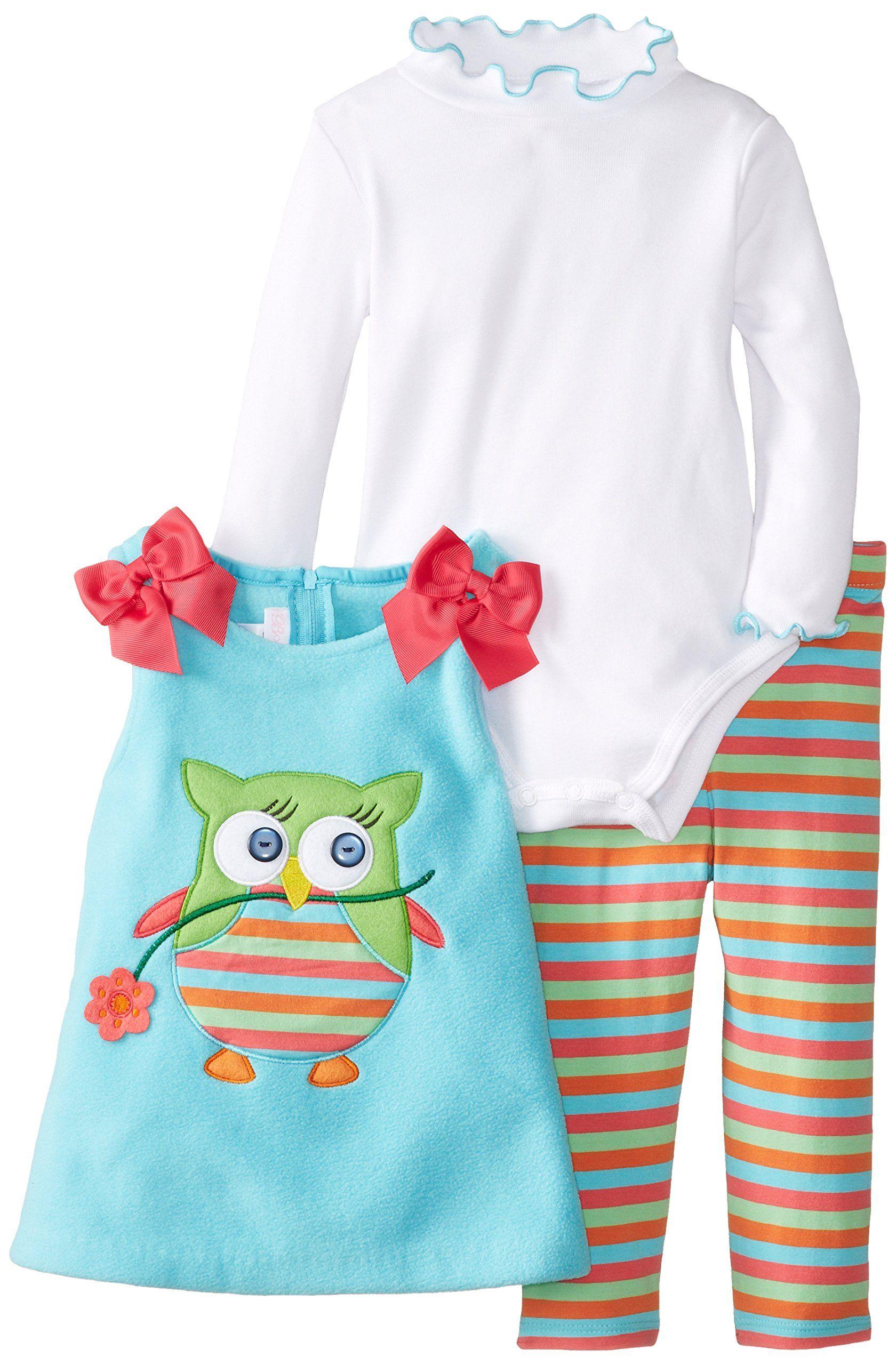 24M New Bonnie Jean Girls Easter Aqua Owl Spring Summer Dress Leggings Set 12M