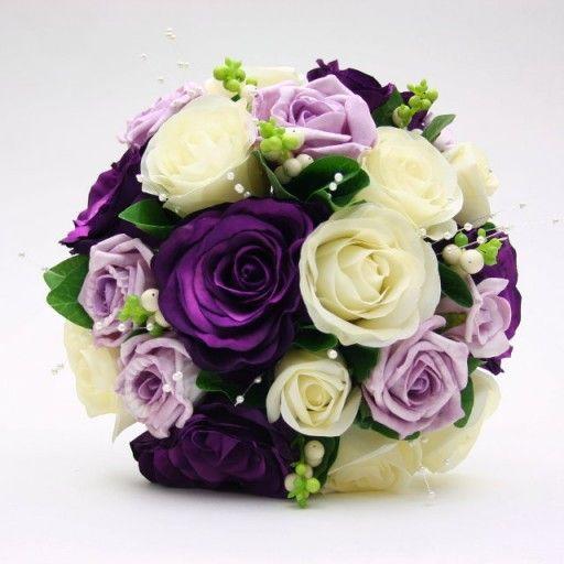 Purple And Ivory Wedding Artificial Silk Wedding Flowers
