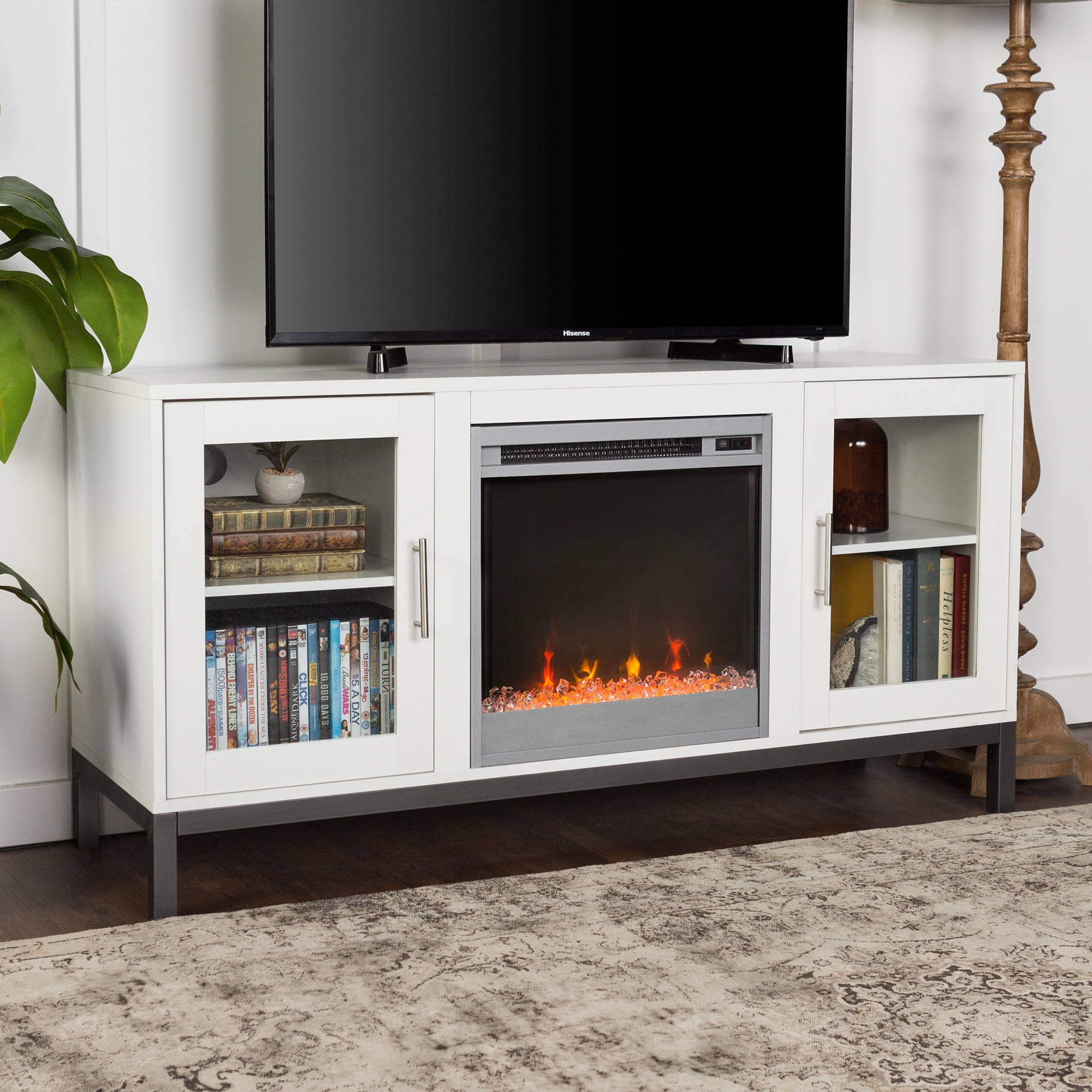 wood fireplace tv console with metal legs white saracina home