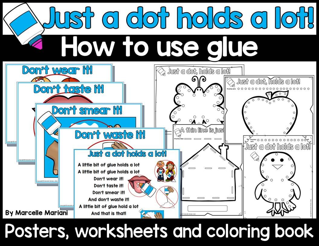 How To Use Glue In Kindergarten Posters Worksheets And