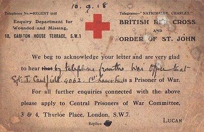 World War I Red Cross Prisoner of War Card.