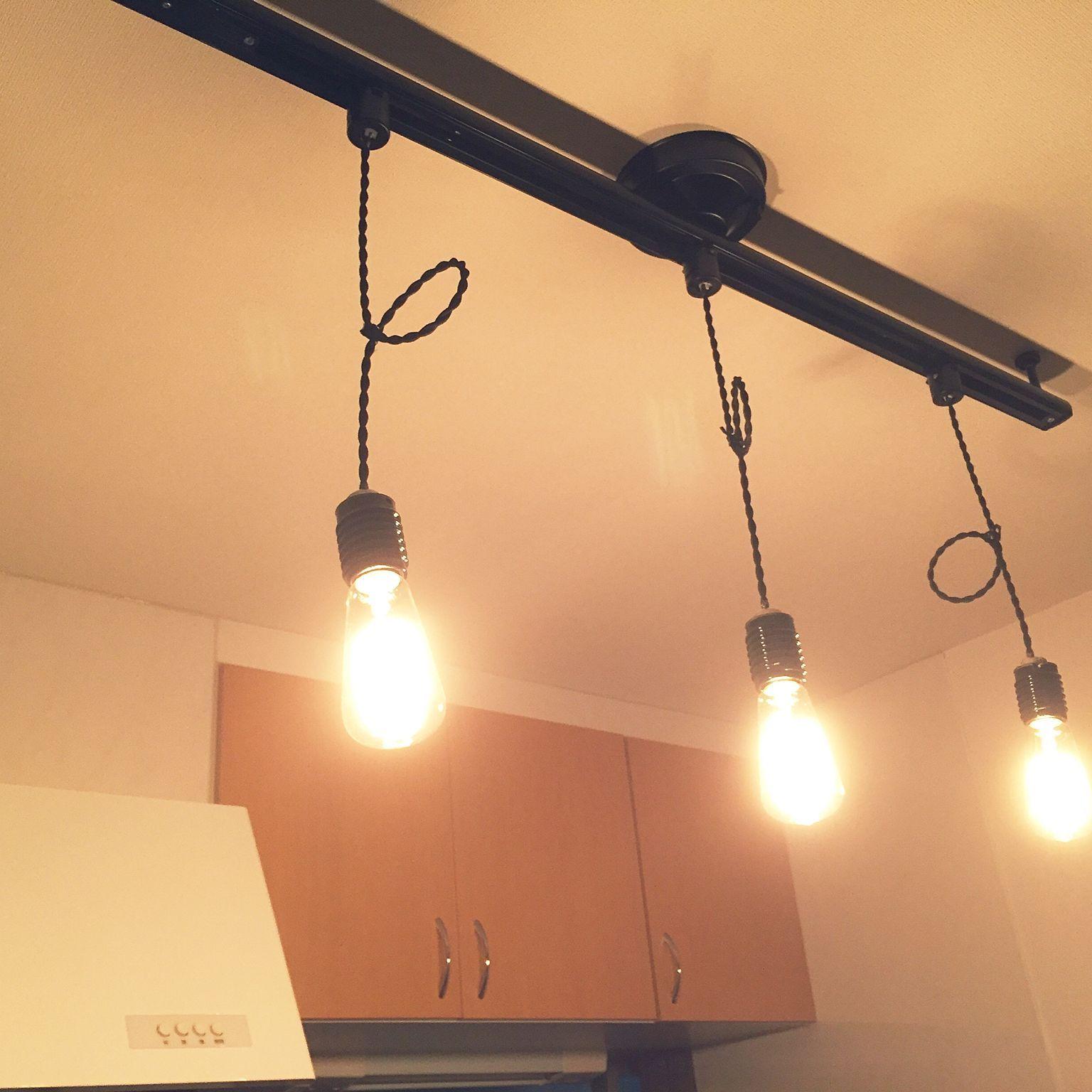 壁 天井 ダクトレール 照明 レトロ カフェ風のインテリア実例 2017
