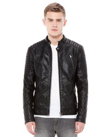 Bershka Romania - Quilted imitation leather biker jacket